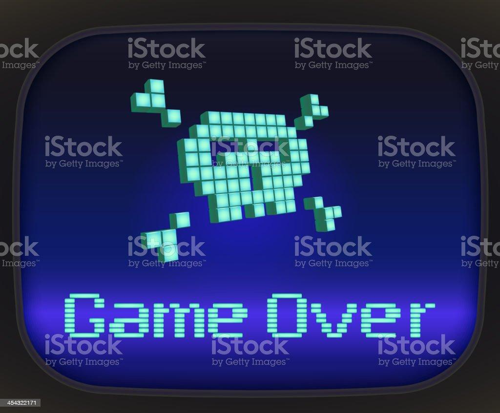 Game over, pixel vector art illustration