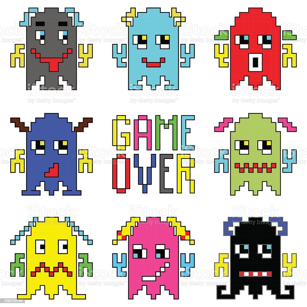 Game over pixelated aliens inspired by vintage video games ilustração de game over pixelated aliens inspired by vintage video games e mais banco de imagens de 1990-1999 royalty-free