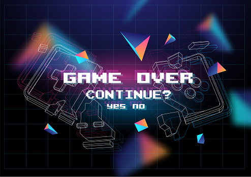 Game Over poster with lowpoly elements. Broken game controller. Creative gaming template.