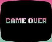Vector illustration of a Retro arcade game screen. Includes pixel gradient text design.