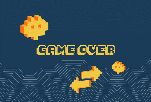 Game over screen, old school gaming poster