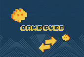 istock Game over screen, old school gaming poster 1224388298