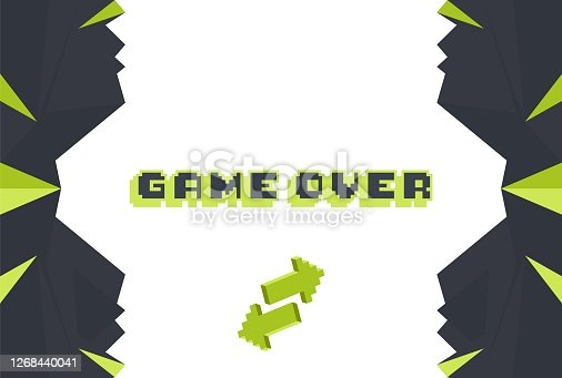 istock Game over screen, old school gaming poster 1268440041