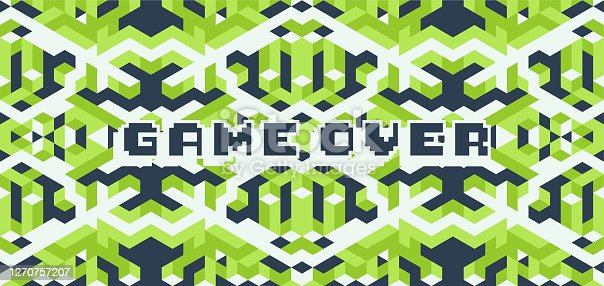 istock Game over screen, old school gaming poster 1270757207