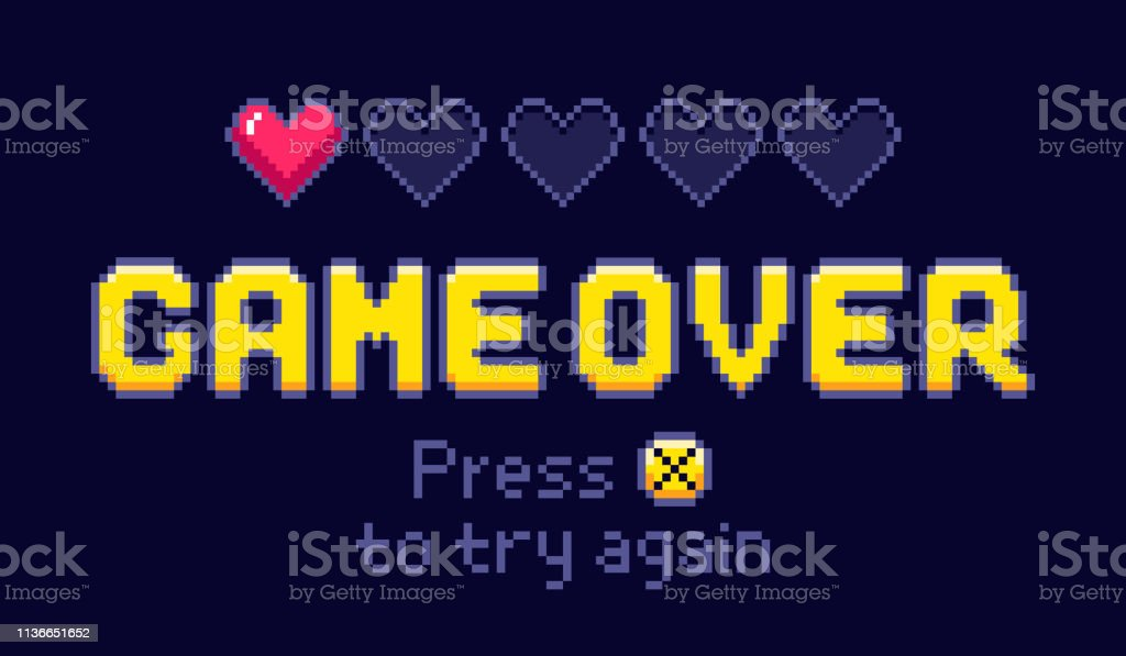 Game over screen. Pixel retro games, try again and 8bit gaming last...