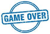 game over stamp. game over round vintage grunge sign. game over