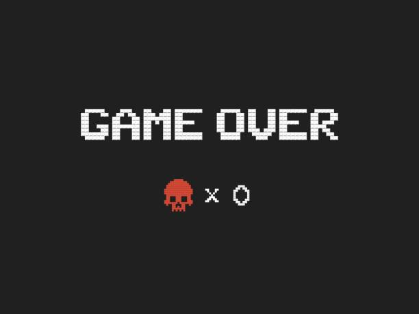 Game over text and red skull vector illustration. Retro video game design element on dark backgroundю Game over text and red skull vector illustration Retro video game design element on dark background death stock illustrations