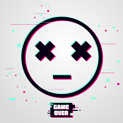 Game over vector background. Emoticon with glitch effect. Cyber gamer poster.