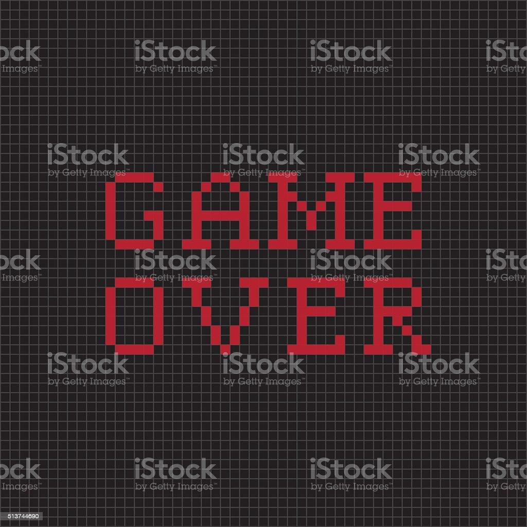 Game over. Vector pixel text message vector art illustration