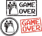 Game Over - Wedding rubber stamps.