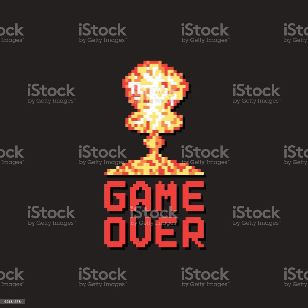 game over with pixel art explosion vector art illustration