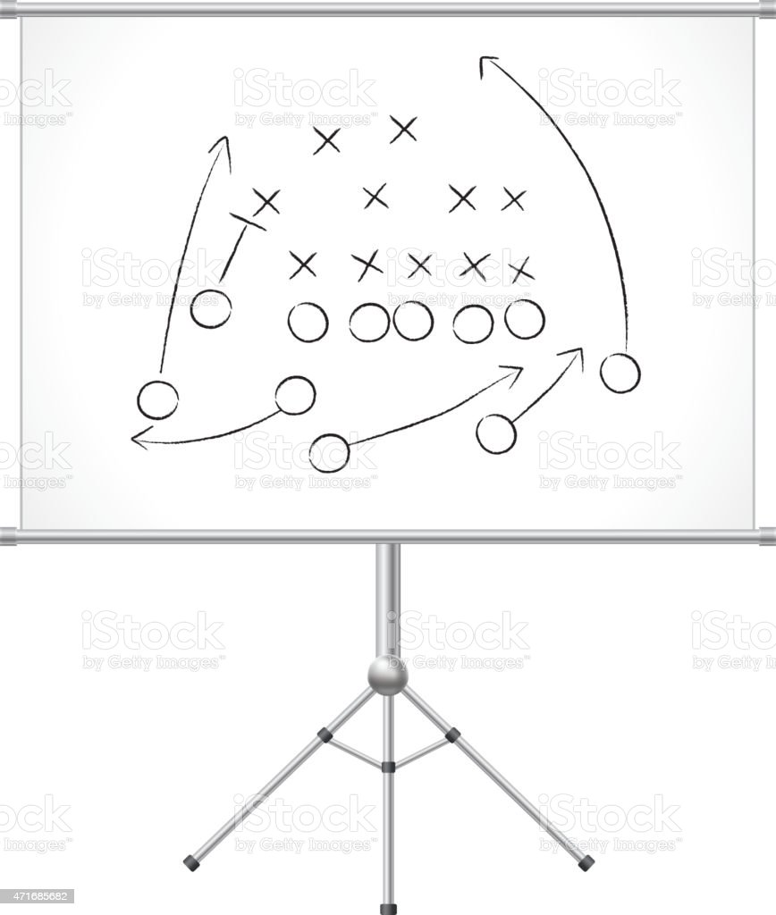 Game plan on whiteboard vector art illustration