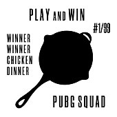 Game PlayerUnknowns Battlegrounds. PUBG poster, banner with fry pan. Winner winner chicken dinner text. Clean and modern vector illustration for design, web.
