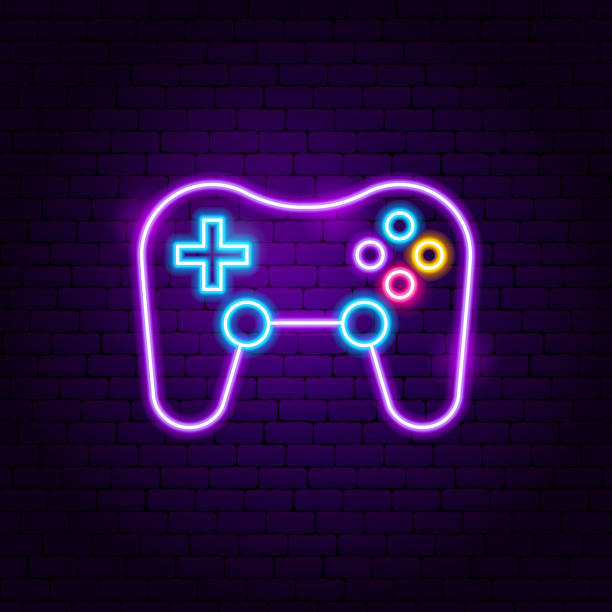 Game Playing Neon Sign Game Playing Neon Sign. Vector Illustration of Gamer Promotion. game controller stock illustrations