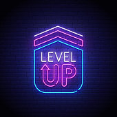 Game popup. Level up neon sign, bright signboard, light banner. Game logo neon, emblem. Vector illustration.
