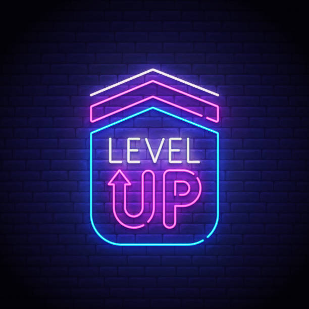 Game popup. Level up neon sign, bright signboard, light banner. Game logo neon, emblem. Vector illustration Game popup. Level up neon sign, bright signboard, light banner. Game logo neon, emblem. Vector illustration. gambling stock illustrations