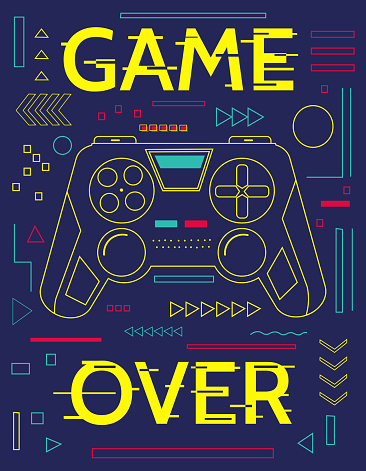 Game print. Minimal poster with controller and abstract geometric shapes. Game over banner. Blue figures and yellow lettering with glitch effect. Graffiti art design, vector gamepad