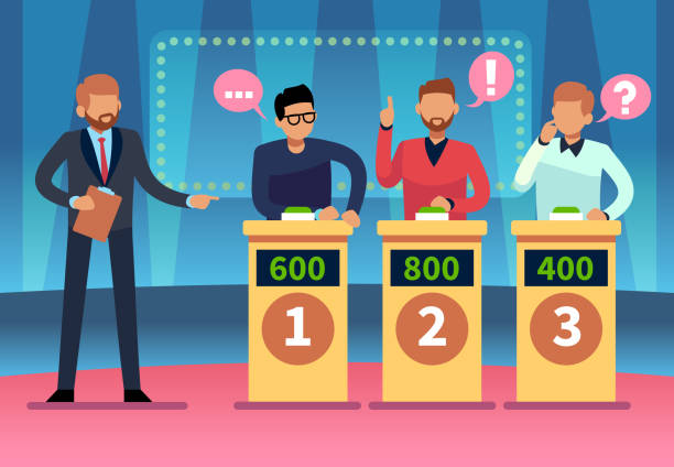 Game quiz show. Clever young people playing television quiz with showman, trivia game tv competition. Cartoon design Game quiz show. Clever young people playing television quiz with showman, trivia game tv competition. Cartoon vector illustration leisure games stock illustrations