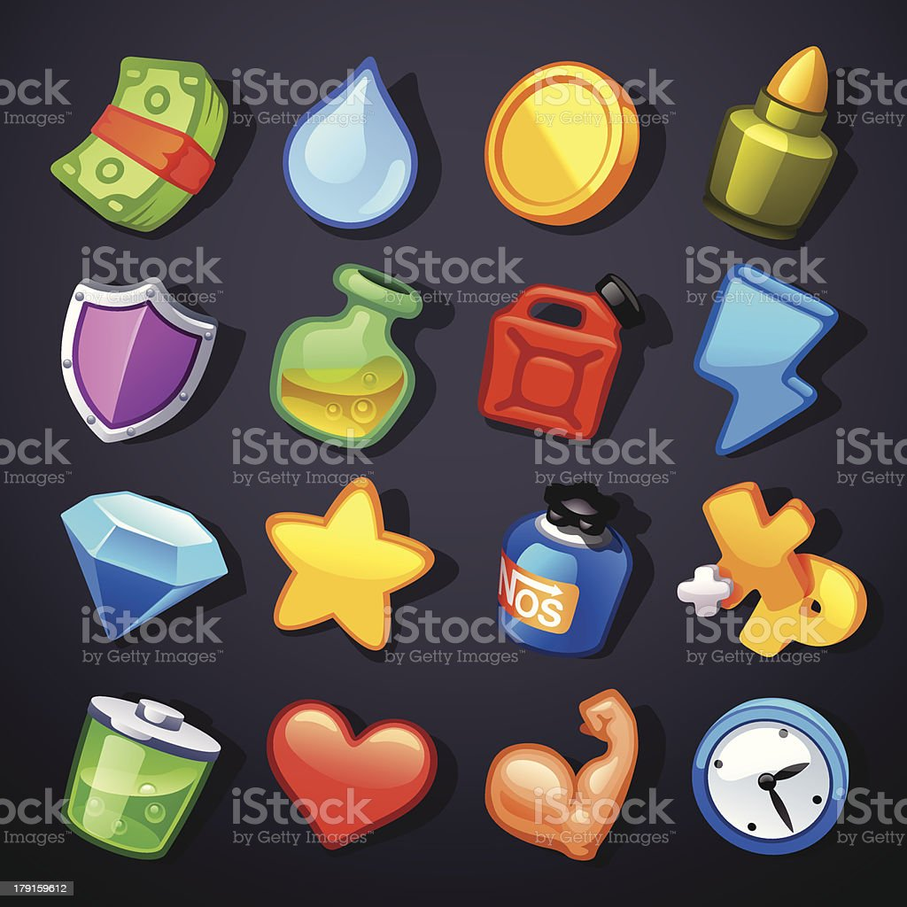 Game resources icons royalty-free stock vector art