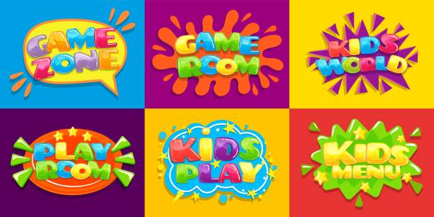 ilustraciones, imágenes clip art, dibujos animados e iconos de stock de carteles de la sala de juegos. divertido niño sala de juegos, juegos zona de juego para los niños pequeños y niños menú de ilustración vectorial fondo - niñez