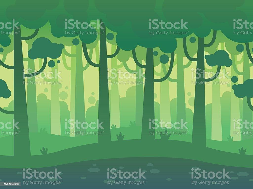 ゲームの背景にシームレスなホライゾンタル森 のイラスト素材
