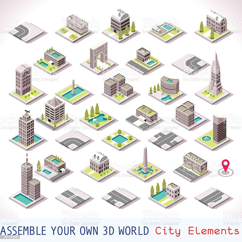 Game Set 01 Building Isometric vector art illustration