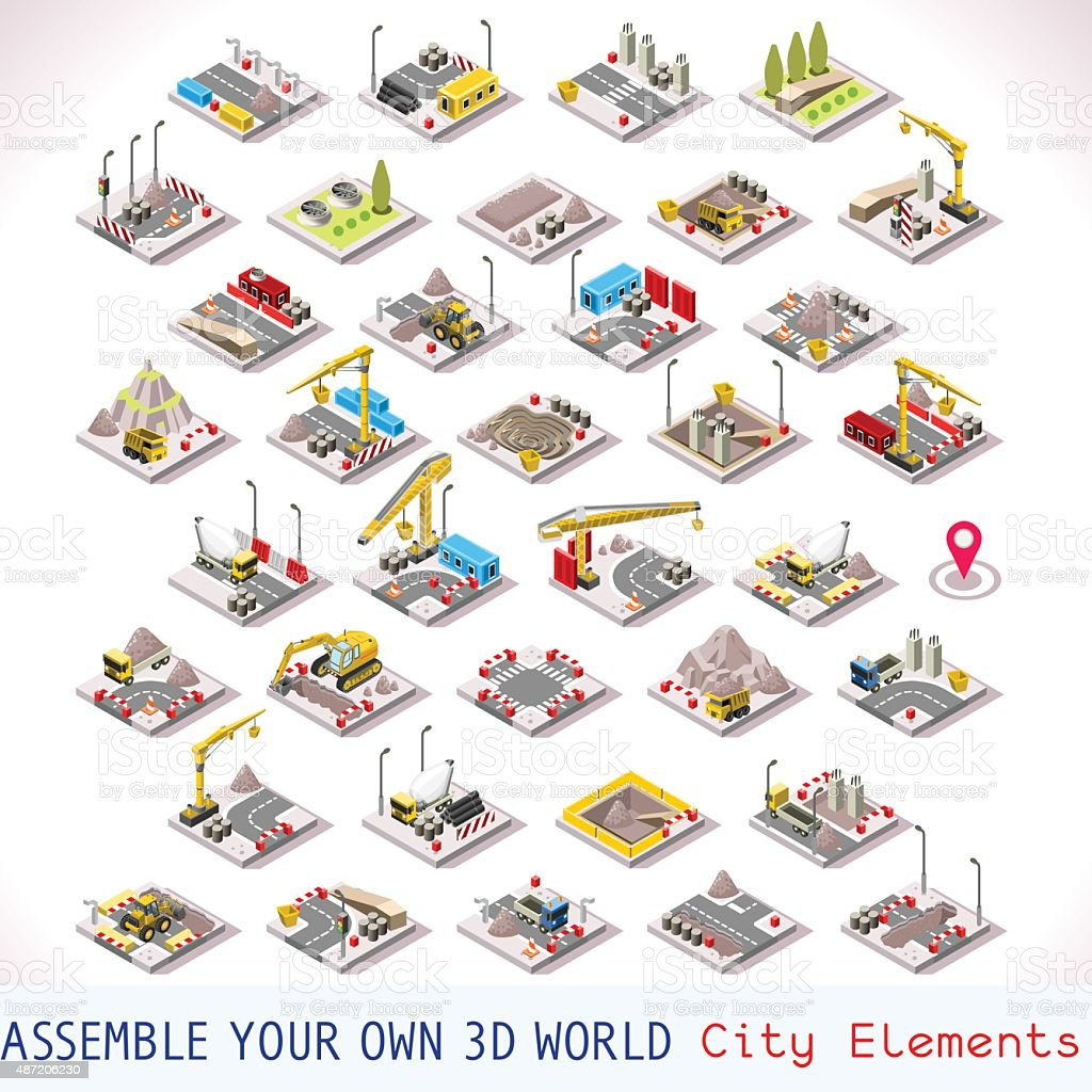 Game Set 02 Building Isometric vector art illustration