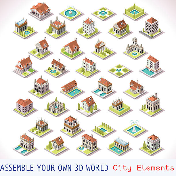 Game Set 03 Building Isometric City Building Villas Private Estate Tiles MEGA Collection Italian Venice Luxury Hotel Gardens and Other Isometric 3d Urban Map Elements Set of Game Tiles villa stock illustrations