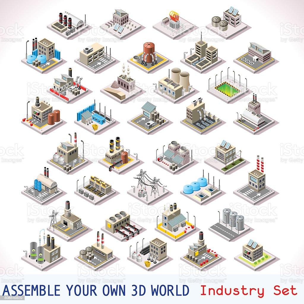 Juegos de conjunto 05 edificio isométrica - ilustración de arte vectorial