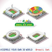 Vector isometric Stadium Sport Icon Brasil Set. Flat 3D City Map Elements Isometry Isometric Infographic Game Tiles Collection
