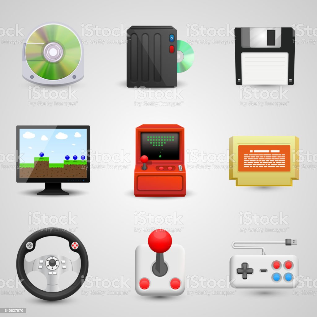 Game set icons vector art illustration