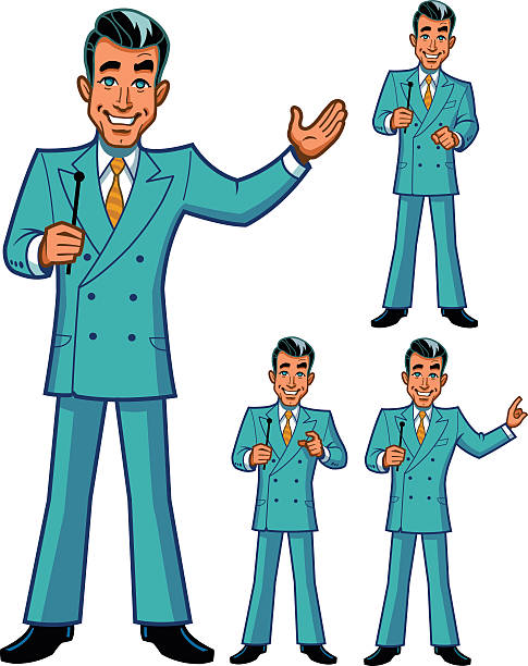 Game Show Host Poses vector art illustration