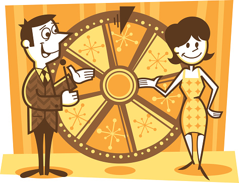 illustration of a game show host and assistant spinning the wheel