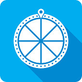 Vector illustration of a blue game show wheel icon in flat style.