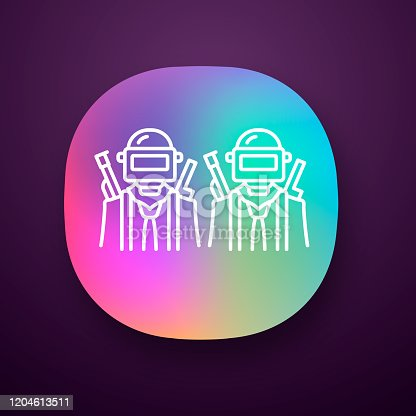 Game soldiers app icon. Virtual game team. Shooter from first person. Online multiplayer. Warriors, players with guns. UI/UX user interface. Web or mobile application. Vector isolated illustration