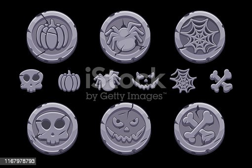 Game stone coin. Set vector cartoon coins with Halloween symbols for playing Game UI. Icons on a separate layer.