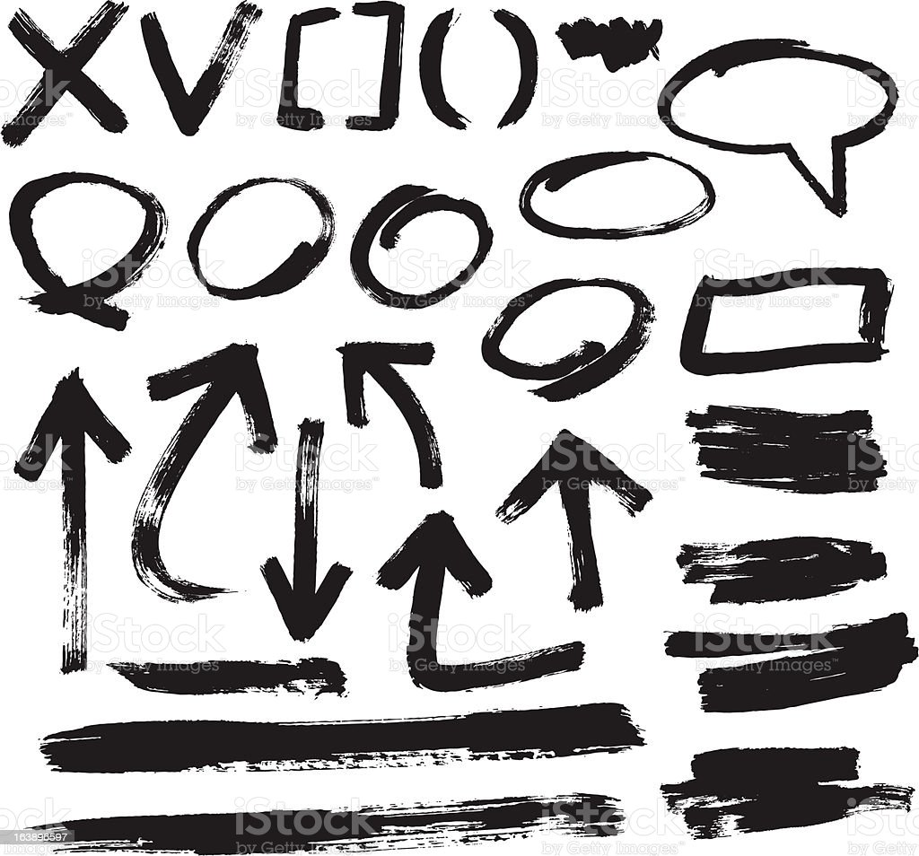 ゲーム戦略の要素をブラシストローク画像 ベクターアートイラスト