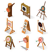 Game target isometric. Sport object for shooting practice, a circle with a pattern of rings on wooden stand, ambition or effort aim, desired result