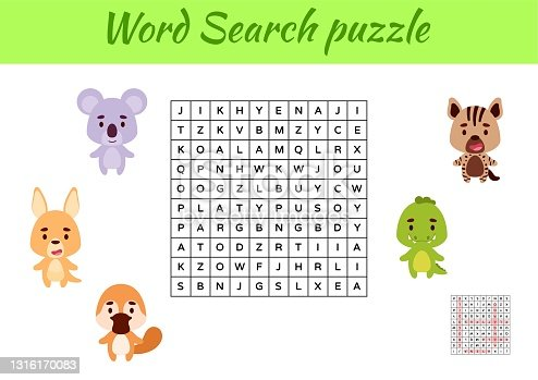 istock Game template word search puzzle of animals for children with pictures. Kids activity worksheet printable version. Educational game for study English words. Includes answers. Vector stock illustration 1316170083