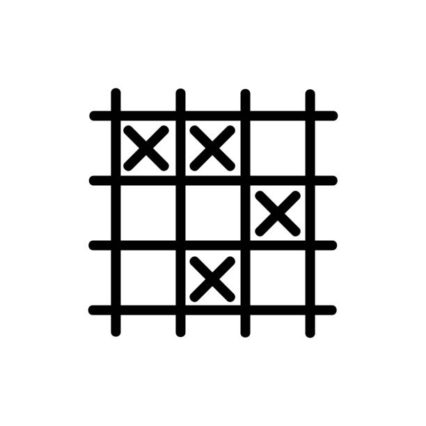 game TIC TAC toe icon vector outline illustration game TIC TAC toe icon vector. game TIC TAC toe sign. isolated contour symbol illustration backgammon stock illustrations