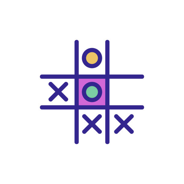 game TIC TAC toe icon vector outline illustration game TIC TAC toe icon vector. game TIC TAC toe sign. color isolated symbol illustration backgammon stock illustrations