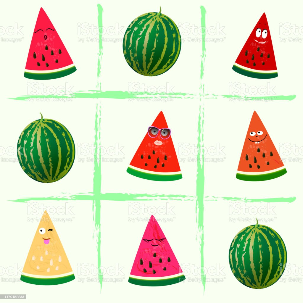 Game Tic Tac Toe Of Watermelon Slices Summer Set Of Watermelon Clipart Stock Illustration Download Image Now Istock