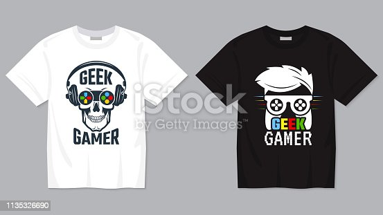 Game t-shirt. Joypad controller digital video gaming concept for geek vector printing template for textile