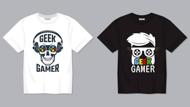 ilustraciones, imágenes clip art, dibujos animados e iconos de stock de camiseta del juego. joypad controlador de vídeo digital concepto de juego para la plantilla de impresión vectorial geek para textiles - moda playera