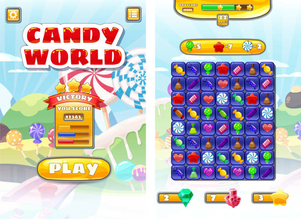 Game UI Candy World Match 3 set game icons, buttons, and elements interface game design resource bar and icons kinds of lollipops and sweet food for games cartoon style. Sweet candy land game background Vector isolated illustration Game UI Candy World Match 3 set game icons, buttons, and elements interface game design resource bar games stock illustrations