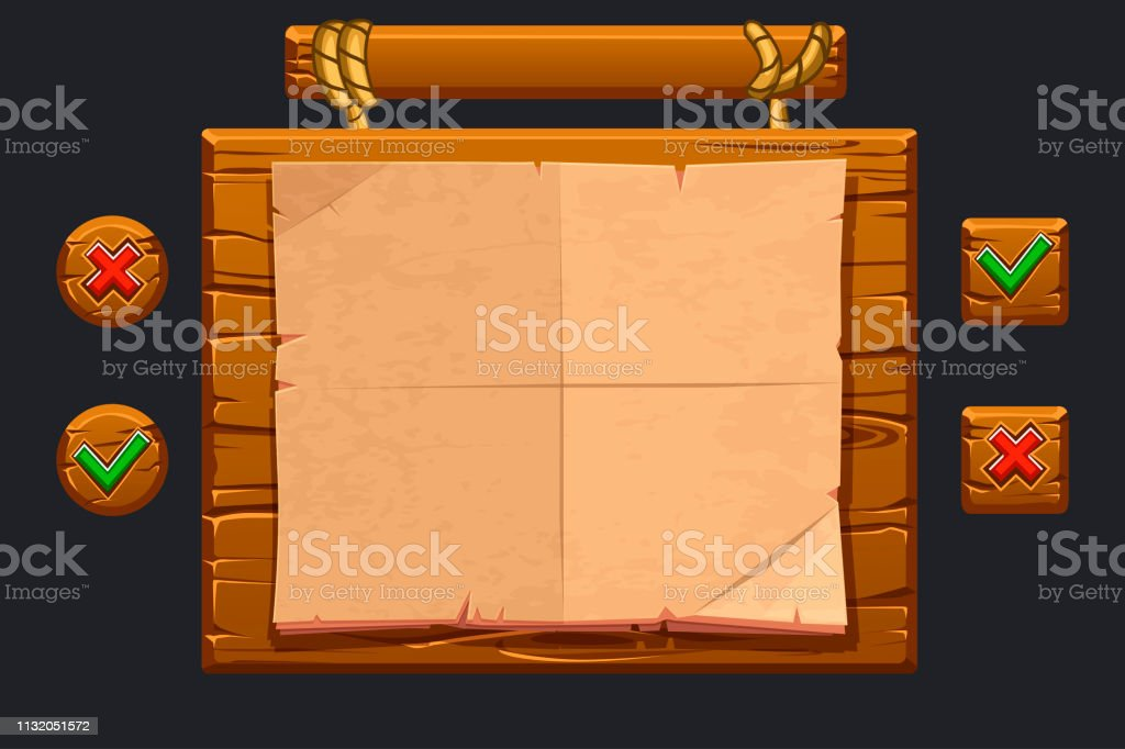 Game Ui Kit Template Wooden Menu Of Graphical User Interface