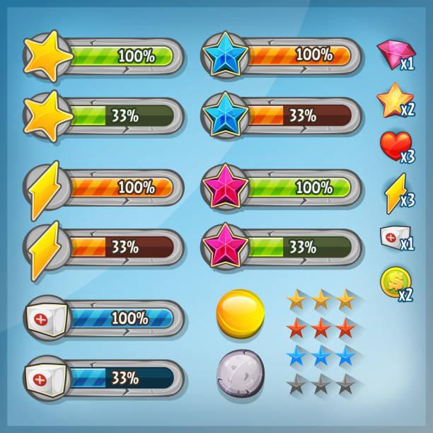 ilustrações de stock, clip art, desenhos animados e ícones de game ui kit with icons and status bars - enjoying wealthy life