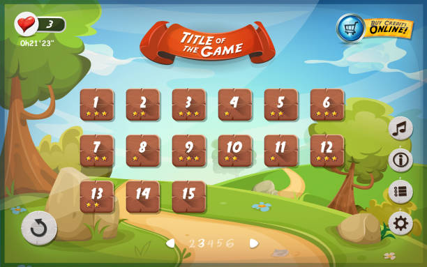 Game User Interface Design For Tablet Illustration of a funny graphic game user interface background, in cartoon style with spring nature landscape, basic buttons and functions, status bar for wide screen tablet leisure games stock illustrations