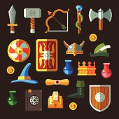 Game weapon vector flat icon set. Weapons, shields, magic, scrolls.