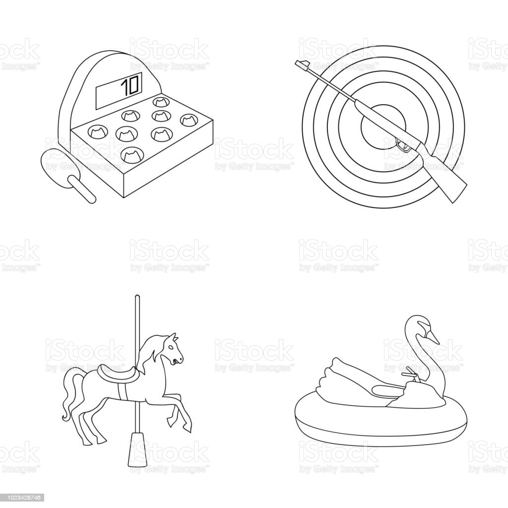 A Game With A Bat A Target With A Gun A Horse On A Carousel A Swan Attraction Amusement Park Set Collection Icons In Outline Style Vector Symbol Stock Illustration Web Stock